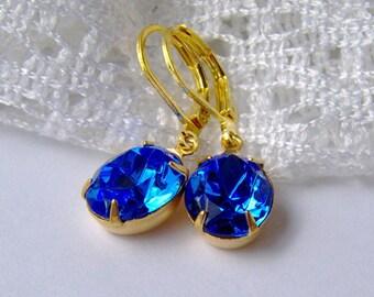 Sapphire Rhinestone Leverback Earrings / September birthstone / gift for her / birthday gift / best friend gift / blue crystal earrings