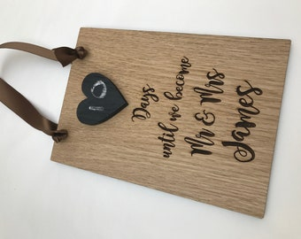 Personalised Engraved Wooden Wedding Countdown Chalkboard Plaque - Sign Vintage, Retro, Engagement Gift, Heart Board