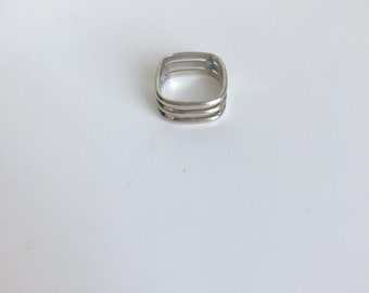 Vintage Modernist Sterling Silver Square Ring - Size 6
