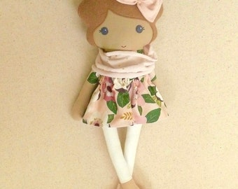 Fabric Doll Rag Doll Small 15 Inch Doll, Light Brown Haired Girl in Pink and Burgundy Floral Dress with Knit Scarf