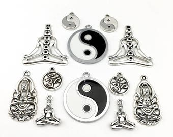 12 yoga charms antiques silver charms,20mm to 38mm #ENS A 385