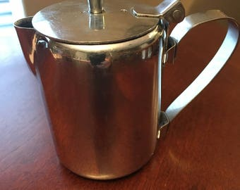 Vintage Stainless Steel Creamer with Hinged Lid by Bloomfield 18-8 S.S. Korea 3706