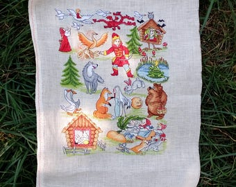 Reserved bembroidered cross stitch picture, cross stitch picture, hand made, needlepoint, sampler, animals, fairy tales