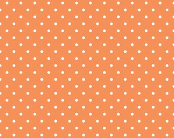 Riley Blake Designs, White Swiss Dot on Orange  (C670 60)