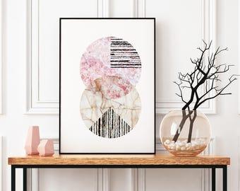 Abstract Circle Art, Scandinavian Modern Print Framed, Geometric Poster, Marble Wall Art, Collage Wall Art