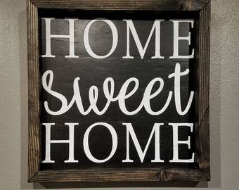 """Rustic Wood Home Sign """"HOME sweet HOME"""""""