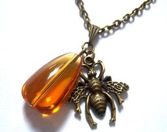 Bronze, bronze tone pendant glass bead necklace honey drop and honey bee gold orange