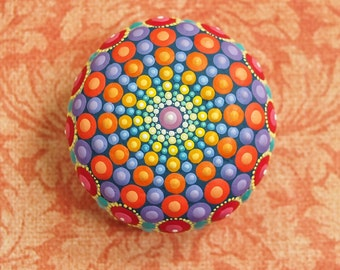 Jewel Drop Mandala Painted Stone- sea urchin- painted by Elspeth McLean