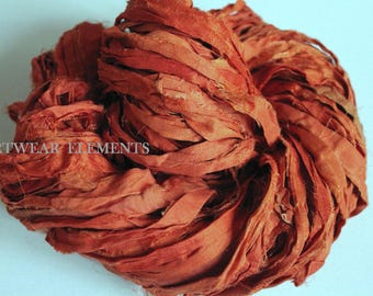 Pure Sari Silk, Pumpkin Puree, Per Yard And Skein, Fair Trade, Art Yarn, Orange Silk, Bracelet Ribbon, Fabric, ArtWear Elements, #15