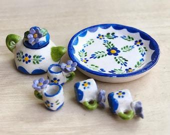 Miniature Tea Set,Miniature Chinese Tea Set,Miniature Drink,Dolls House Tea set, Miniature Tea Pot with 4 cup Set,Miniature Food,Gift