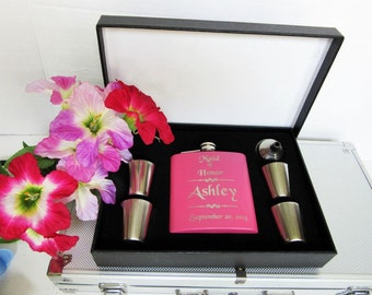 9 Bridesmaid Gift flask Set, Pink Wedding Flask Gift Set, Wedding Gift for Bridesmaids,  Personalized Bridesmaid Gift