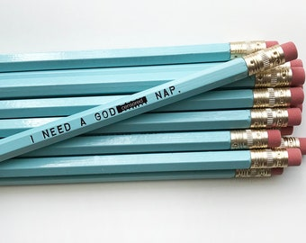 Pencil Set. Engraved Pencils. Funny Pencils. I Need A Nap. Mature Pencil Set.