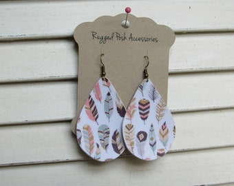 Pastel Feather Print Earrings