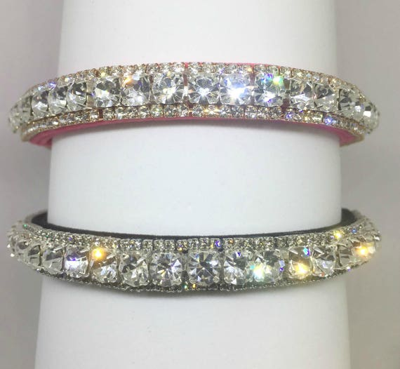 Plush Black or Pink Velvet & Diamonds Crystal Rhinestone Dog Cat Pet Collar + Charm USA