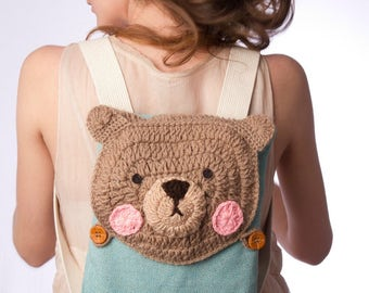 Bear backpack, Animal  Backpack, Crochet Backpack, Cute Backpack, Crocheted Bear, Children Backpack, Unique Backpack, Bear Bag, Kids Bag
