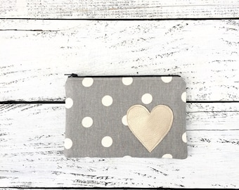 Gray and White Polka Dot Zip Pouch