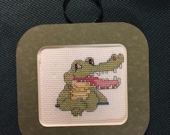 Alligator Cross Stitch Ornament
