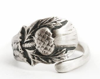 Petite Scottish Thistle Ring, Thistle Jewelry, Spoon Ring Sterling Silver, Handmade Thistle Ring, Adjustable Ring Size, Nature Inspired 6298
