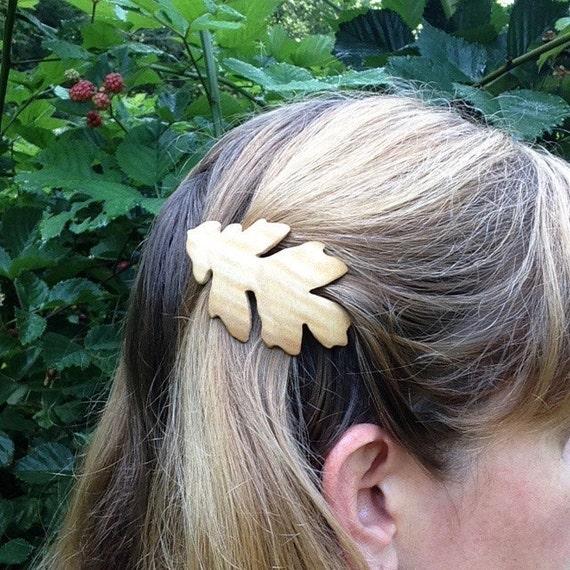 Oak leaf hair clip, Oak Leaf hair barrette, 50mm French Barrette Clasp, Hair clip for thin hair, Child's hair clip, Gift for her under 30
