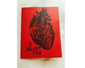 I Heart You Card - Linoleum Print