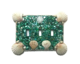Teal Seashell triple switch plate hand made - Beach Ocean Decor - jute Outline - Sea shell faceplate light switch blue green turquoise