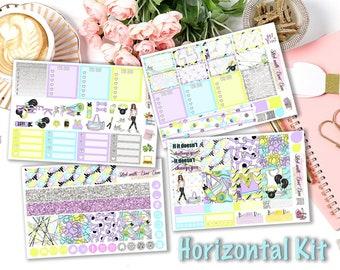 Horizontal ECLP Gym Girl weekly kits planner stickers || Erin Condren planner horizontal layout