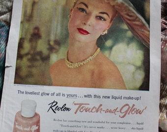 Revlon Makeup Hat Lady Magazine Ad 1956