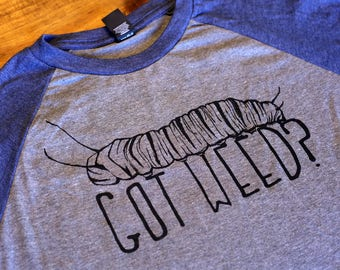 GOT WEED? Monarch Butterfly Caterpillar - Milkweed - Gray and Navy heather baseball t-shirt XL - Soft and Comfy - Smiling Snake