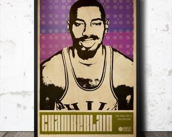 Wilt Chamberlain Basketball Sports Art Poster