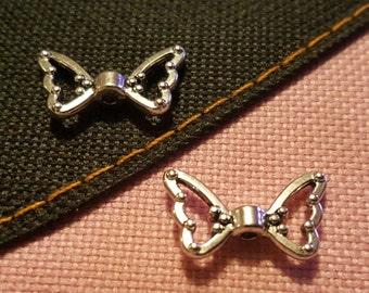 Angel Wings Beads - 50 pcs. - Open Angel Wings - Lead Free - Antique Silver - Fancy - Tibetan Style - Silver Angel Wings - Angel Wing Beads