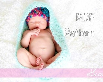 PATTERN: Cocoon, Easy Crochet P D F, newborn fuzzy baby wrap, InStanT DowNLoaD,  PERMISSION to SELL