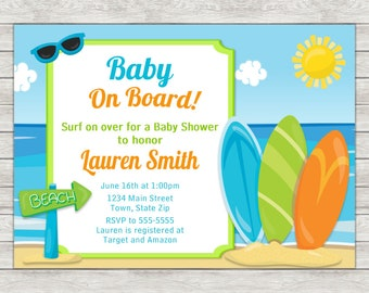 Surf Board Baby Shower Invitation, Surfer Boy Baby Shower Invitation - Digital File (Printing Services Available)