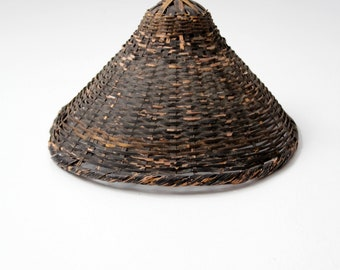 antique Asian sun hat, black wicker conical hat, wall decor