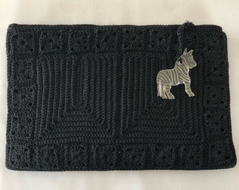 Vintage Black Corde Clutch With Lucite Zebra Pull, Rare Vintage Evening Clutch, Made by Strongworld, 1940's Clutch, Movie Prop