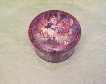 Vintage Daher Tin Box Company Walt Disney Productions candy jar mix container Snow White and the Seven Dwarfs
