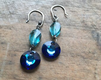 Protection earrings light turquoise and lapis blue crystal earrings evil eye jewelry