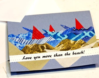 Seashore Notecard, Original Textile Fiber Art Greeting, Love You More Than the Beach Blank Note Card,Fathers Day Card,Sailing itsyourcountry