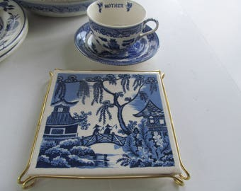 "Blue Willow Tile Cobalt Blue And White Decor 6X6  Ceramic Tile 6x6"" Tile Coaster Blue Willow Decor Blue Willow Trivet Tea Stand Hot Plate"