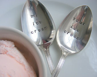 Personalized Hand Stamped Ice Cream Spoons Your Ice Cream My Ice Cream