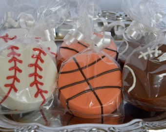 Chocolate Covered Football (12), Basketball or Baseball Oreos, Sports Chocolate Oreo, Chocolate Covered Oreo, Chocolate Sports Favors