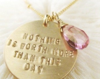 "Inspirational Jewelry - ""THIS DAY"" Gold Necklace for Breast Cancer Awareness"