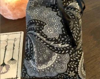 Black and Grey Paisley Drawstring Tarot Bag