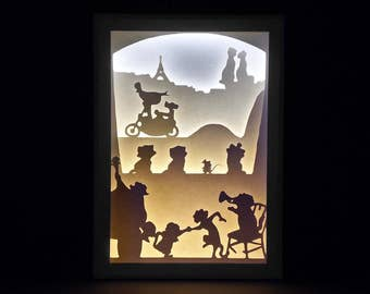 Paper Cut Silhouette Shadow Box - The Aristocats
