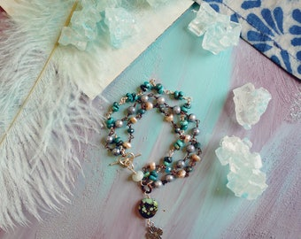 Alamito turquoise, vintage Japanese cultured pearl, freshwater pearl, sterling silver and oxidized copper triple strand bracelet
