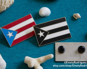 Large - Puerto Rico Flag Enamel Pin Black or Color