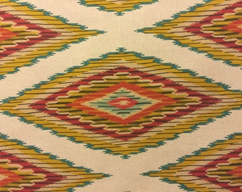 Linen Southwestern Fabric Navajo Blanket Design in Sand Colordaze Linen by Moda Fabrics 1 yard