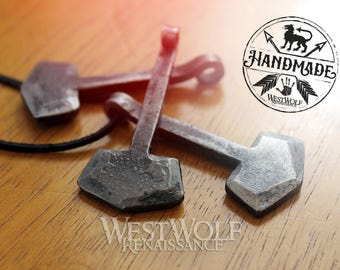 Simple Thor's Hammer Pendant - Made of Hand-Forged Iron --- Norse/Odin/Mjolnir/North/Medieval/Blacksmith/Necklace
