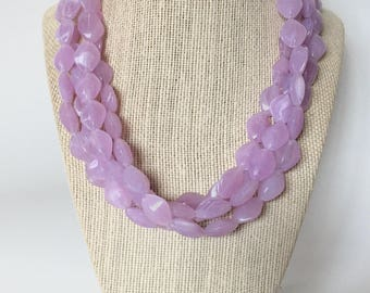 Lavender Chunky Statement Necklace