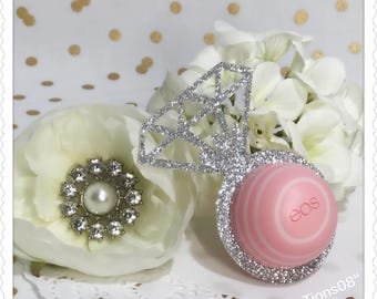 12 Sliver Glitter Ring EOS Lip Balm Holder