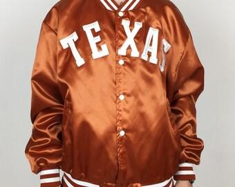 Rare Vintage 90s Swingster NCAA UT University of Texas Longhorns burnt orange satin bomber button up college jacket - Size Xl-Xxl